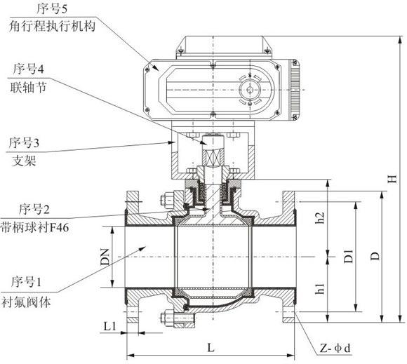 电动衬氟球阀 电动衬氟球阀结构图